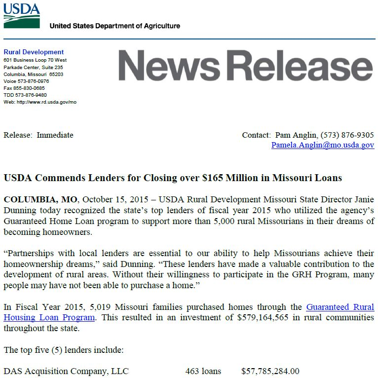 #1 for USDA Home Loans in Missouri